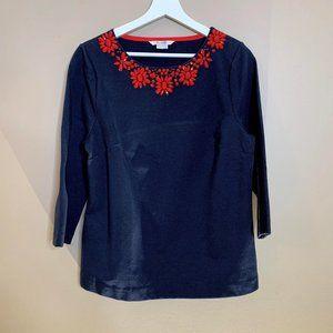 Boden Ponte 3/4 Sleeve Blouse w/ Embellished Neck
